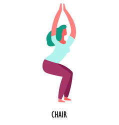 Chair exercise yoga asana or position sport and vector