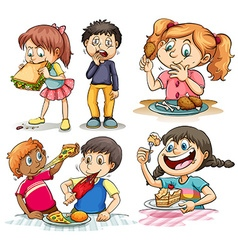 Children eating different kind of food vector