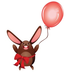 Chocolate Bunny with Balloon vector image