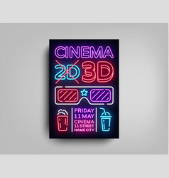 cinema 3d poster design template in neon style vector image