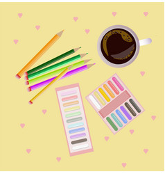 Colorful crayons top view background vector