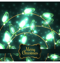 Colorful Green Glowing Christmas Lights elements vector