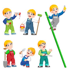 construction worker people cartoon character vector image