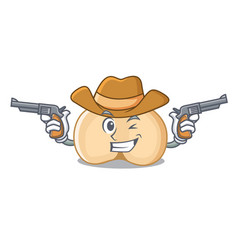 Cowboy chickpeas character cartoon style vector