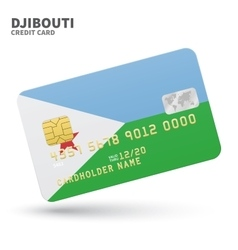 Credit card with Djibouti flag background for bank vector