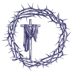 cross and crown thorns easter religious symbol vector image