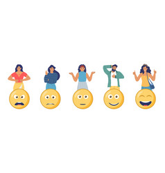 Customers choosing angry happy sad emoji vector