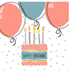 cute birthday greeting card handdrawn background vector image