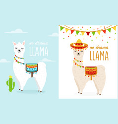 cute cartoon llama alpaca vector image