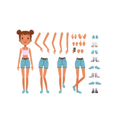 Cute girl constructor for animation front view of vector