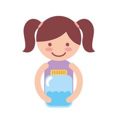 Cute little girl character with watter bottle vector