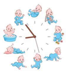 Daily kids routine clocks newborn children vector