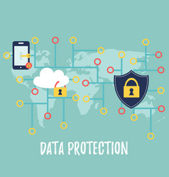 data protection banner with controlled information vector image