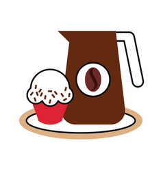 Delicious coffee with cupcake vector