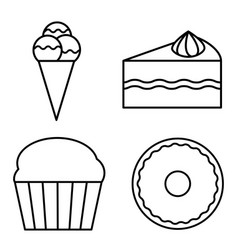 dessert thin line icon set for logo and identidy vector image