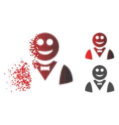 Disintegrating pixel halftone glad waiter icon vector
