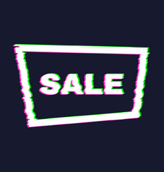 distorted glitch sale banner with error effect vector image