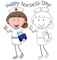 Doodle happy nurse character vector
