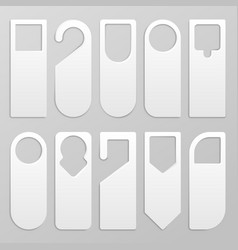 door hanger realistic blank paper hanger mockup vector image