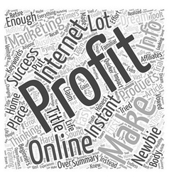 dream of easy instant profits word cloud vector image