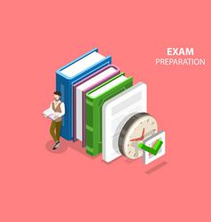 Exam preparation flat isometric concept vector