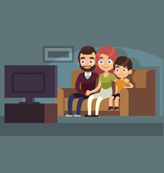 Family watching tv happy watch tv home vector
