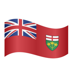 Flag of ontario waving on white background vector