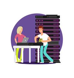 flat cartoon characters server administrators vector image