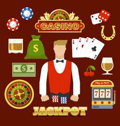 flat casino elements set vector image vector image