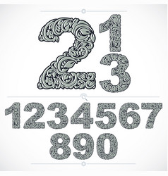 floral numbers drawn using abstract vintage vector image