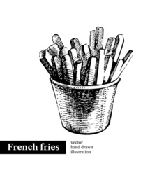 French fries Vintage fast food hand drawn sketch vector
