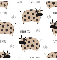 funny cow seamless pattern isolated on white vector image