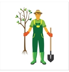 Gardener with trees flat vector