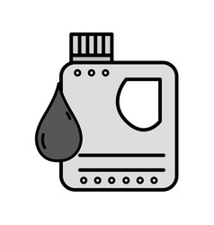 Grayscale gasoline bottle with drop to car vector