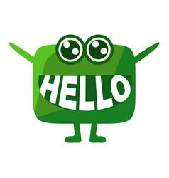 Green blob saying hello cute emoji character with vector