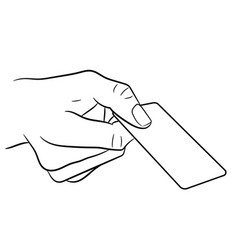 hand holding a plastic card on white background vector image