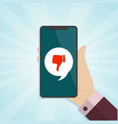 hand holding smartphone with dislike icon on a vector image