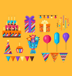 happy birthday icon set vector image