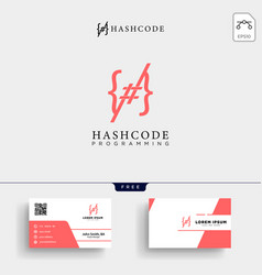 Hashtag and programming code logo template vector