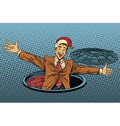 Hello businessman Christmas surprise vector