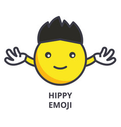hippy emoji line icon sign vector image