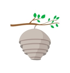 Hive on tree branch cartoon icon vector image