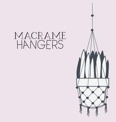 houseplant in macrame hangers vector image