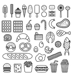 Icon sweets fast food meat and fish vector