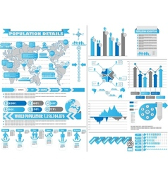 INFOGRAPHIC DEMOGRAPHICS 2 BLUE vector image
