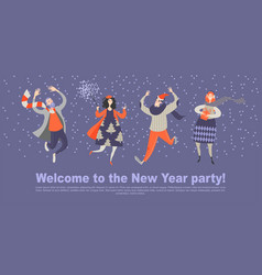invitation card for new year party cartoon vector image