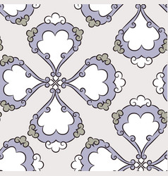 Iznik ceramic tiles floral pattern vector