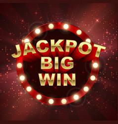 jackpot casino winner big win banner retro vector image