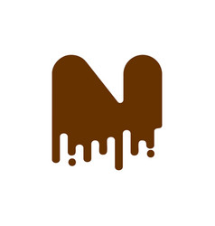 letter n chocolate font sweetness alphabet liquid vector image