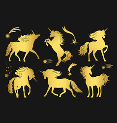 magic golden unicorns and falling stars set vector image